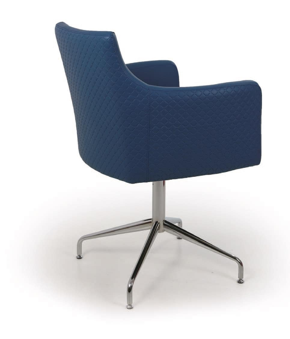 Berlino, Armchair with metal base, padded seat