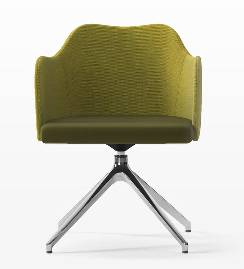 BLITZ, Swivel armchair with pyramidal base