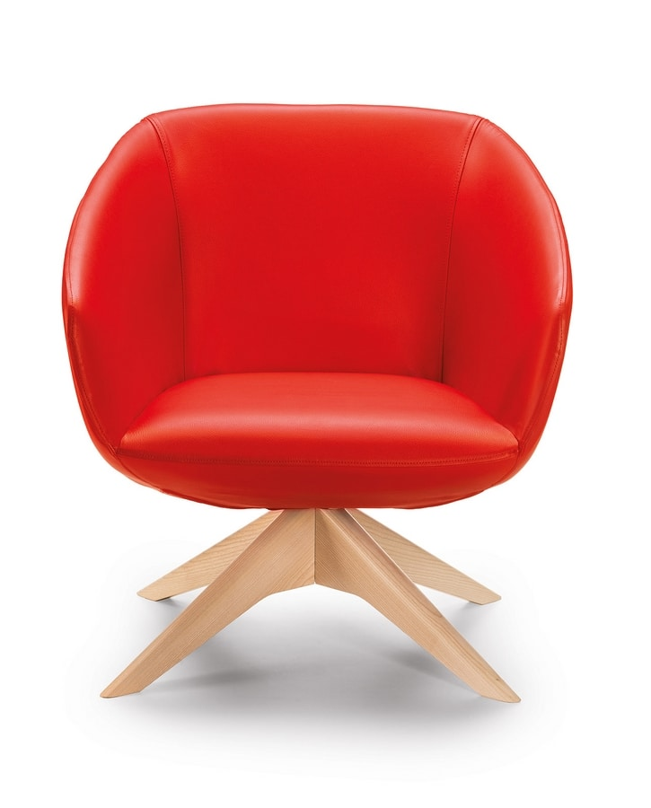 Brema PL, Armchair upholstered in leather, legs in solid wood