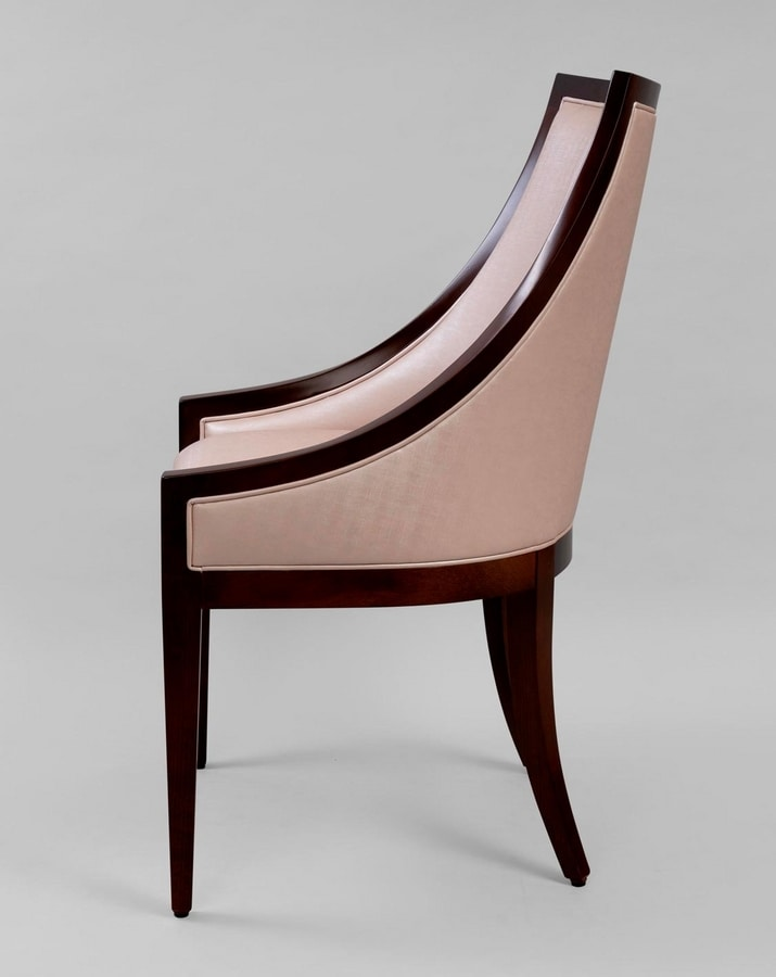 BS464A - Armchair, Armchair wood and leather