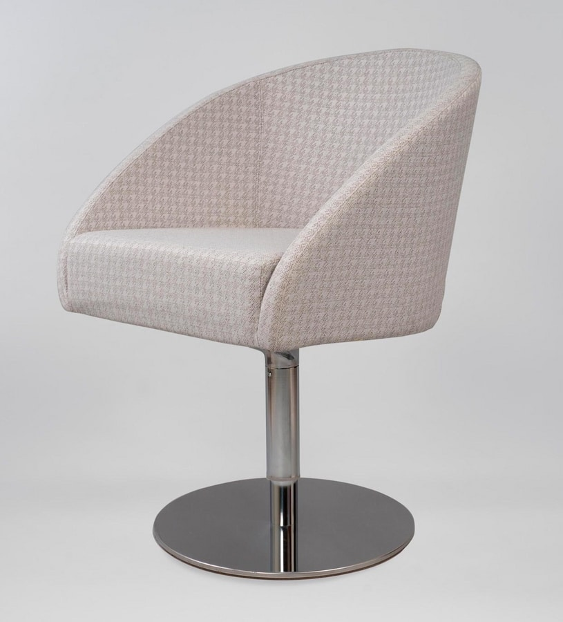 BS483A – Poltrona, Armchair with swivel base in steel