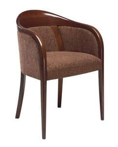 C26, Armchair with arms in beechwood, upholstered seat and back, covered with fabric, for contract use