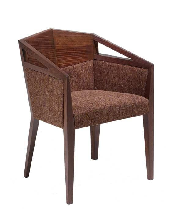 C33, Armchair with arms in beechwood, upholstered seat and back, covered with fabric, for contract use