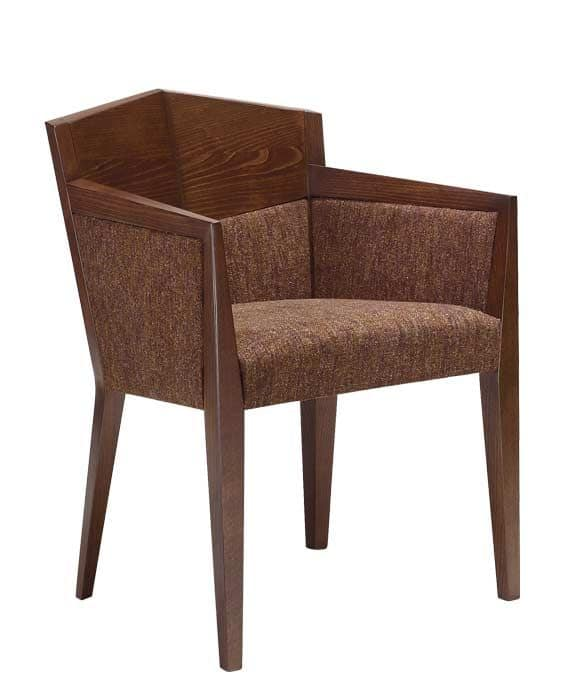 C35, Armchair with arms in beechwood, upholstered seat and back, covered with fabric, for restaurants and hotels