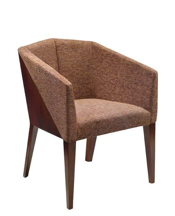 C36, Armchair with arms in beechwood, upholstered seat and back, covered with fabric, for contract use