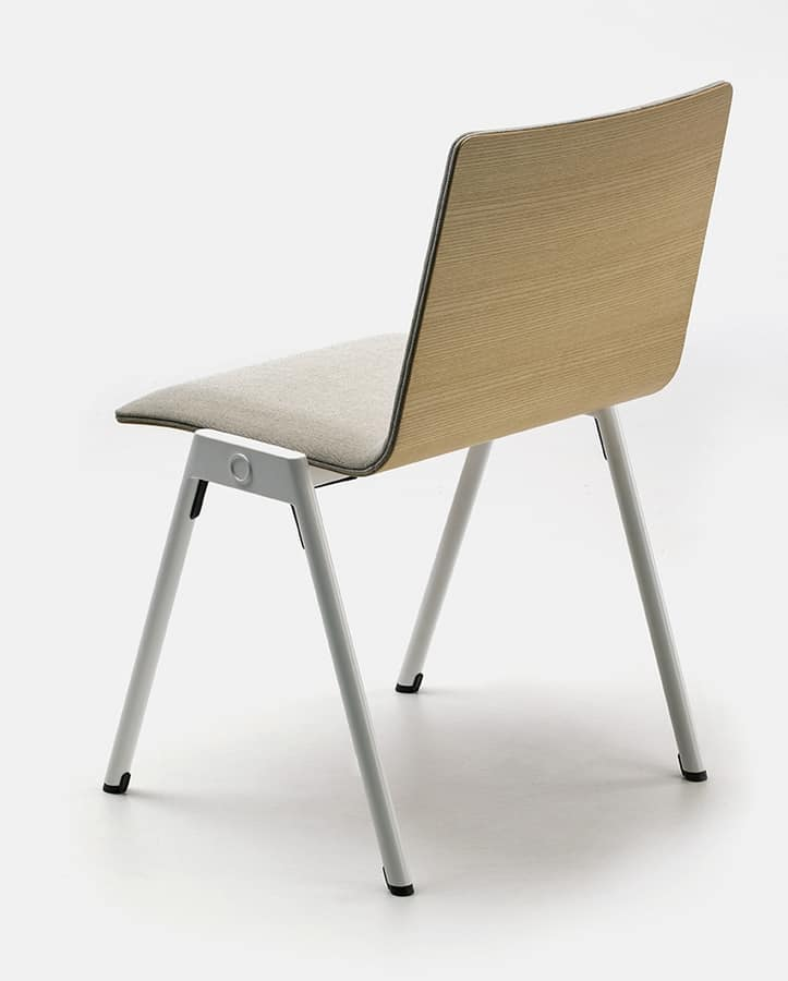 Chromis duo, Metal chair with padded seat, for contract use