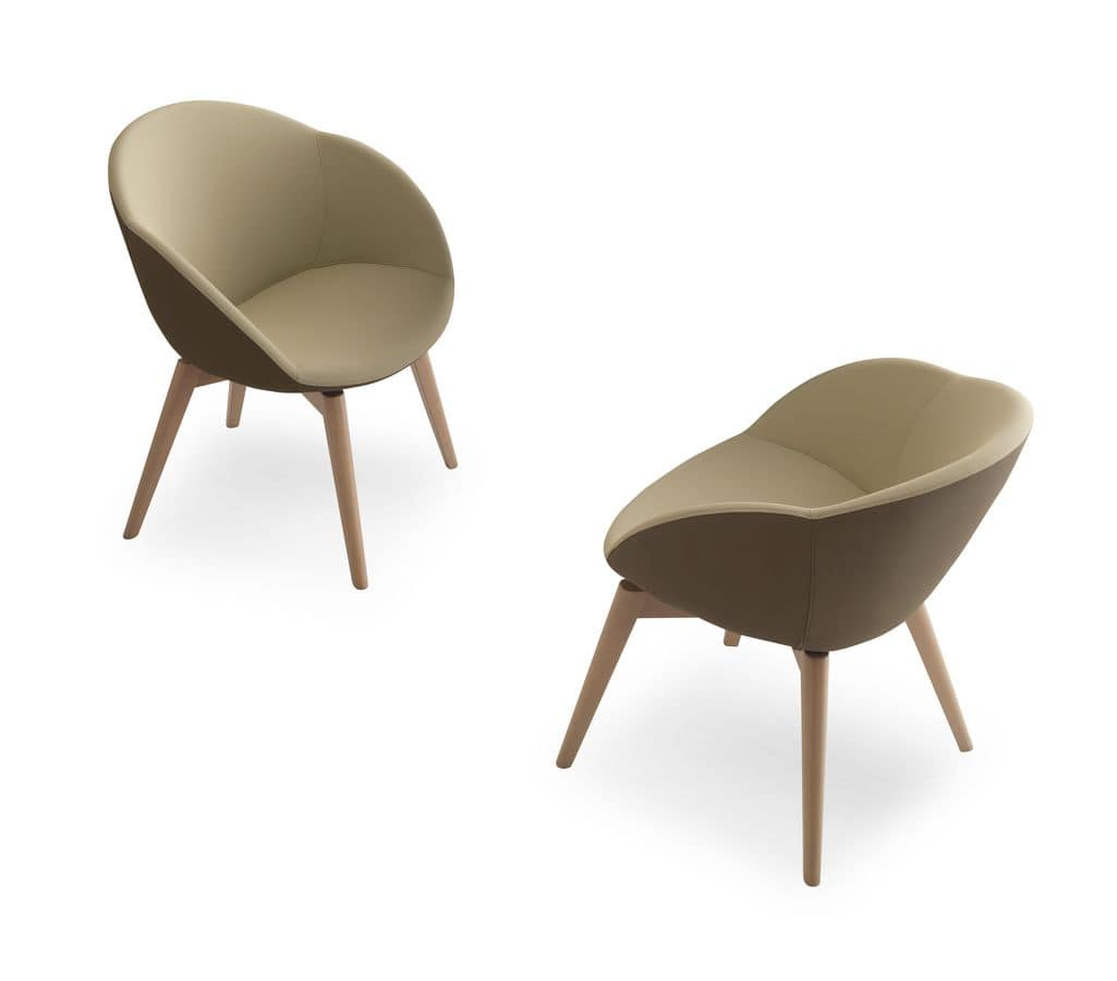 Conny L7, Armchair with wooden base, for waiting rooms