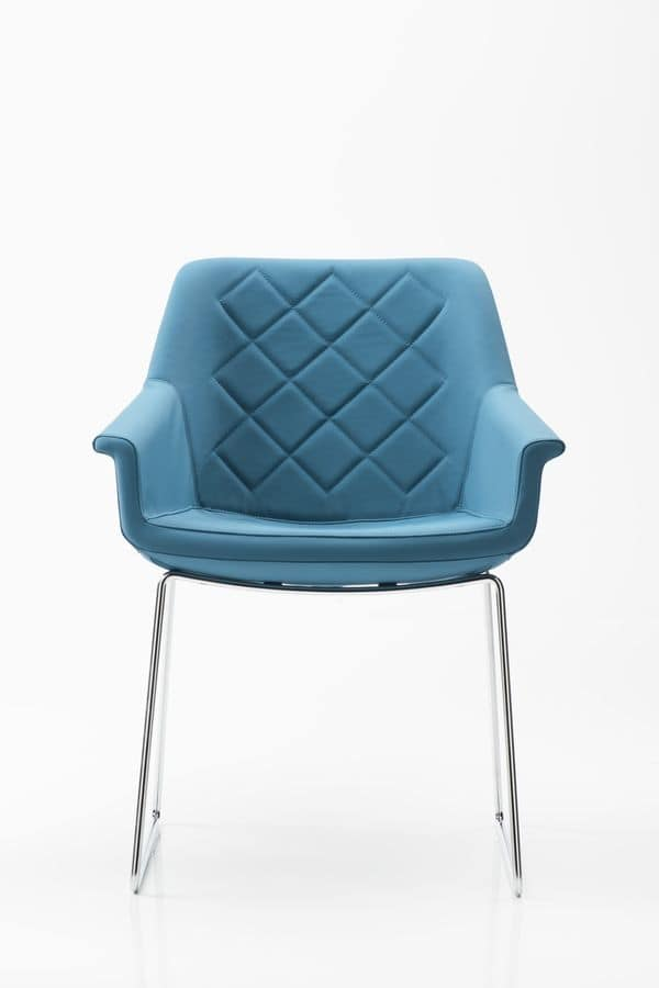 Dama sled base, Padded armchair for office, sled steel base