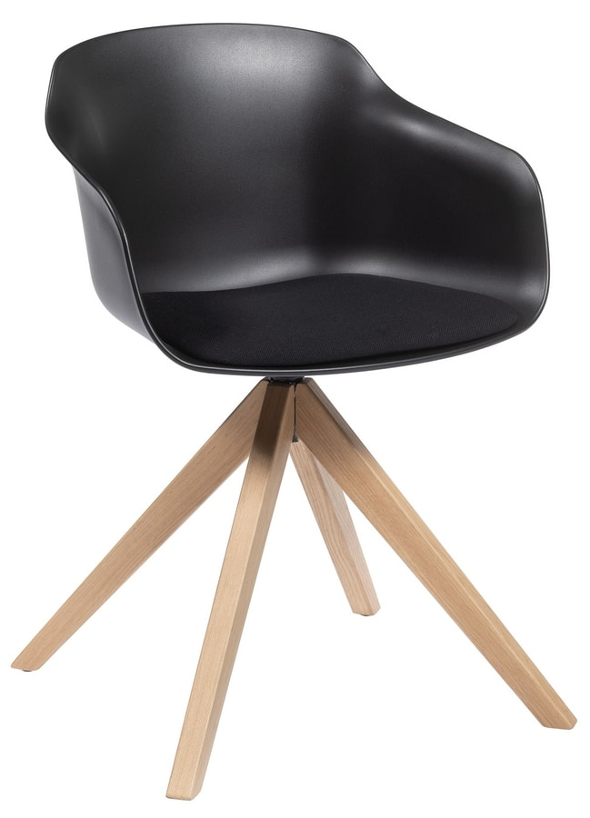 Dame PL, Swivel chair with wooden legs