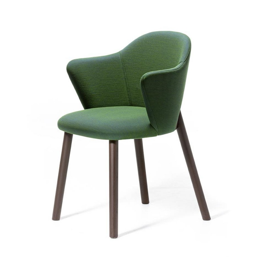 Doc AR, Upholstered small armchair with structure in varnished ash wood