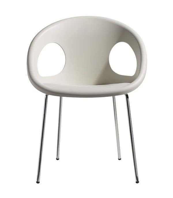 Drop, Modern armchair in metal and technopolymer, stackable