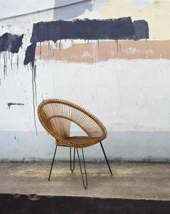 Easy chair Esteban, Armchair in iron and antique rush