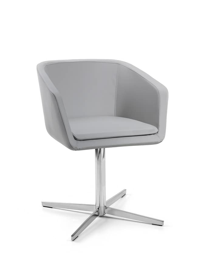 Giavera, Armchair with chrome base, with confortable form