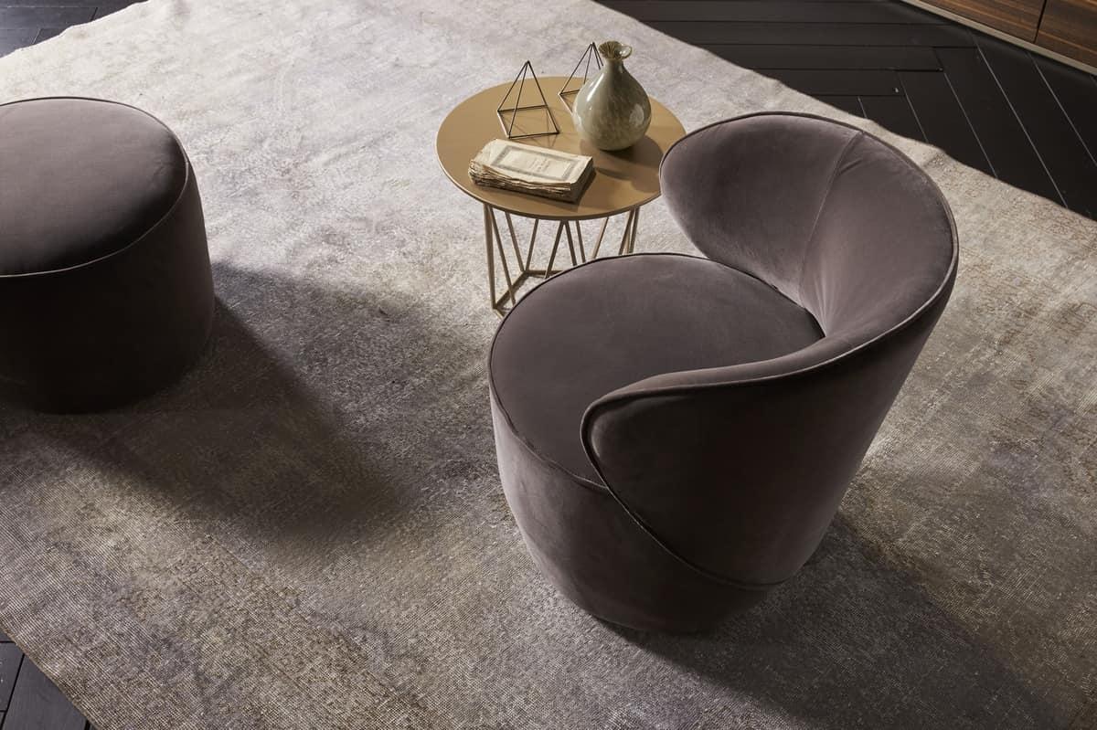 GRACE comp.01, Comfortable swivel armchair, upholstered in velvet