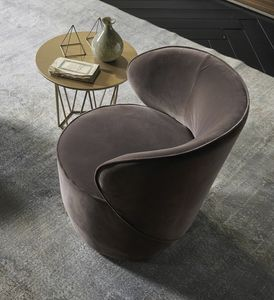 GRACE comp.01, Comfortable swivel armchair, upholstered in velvet