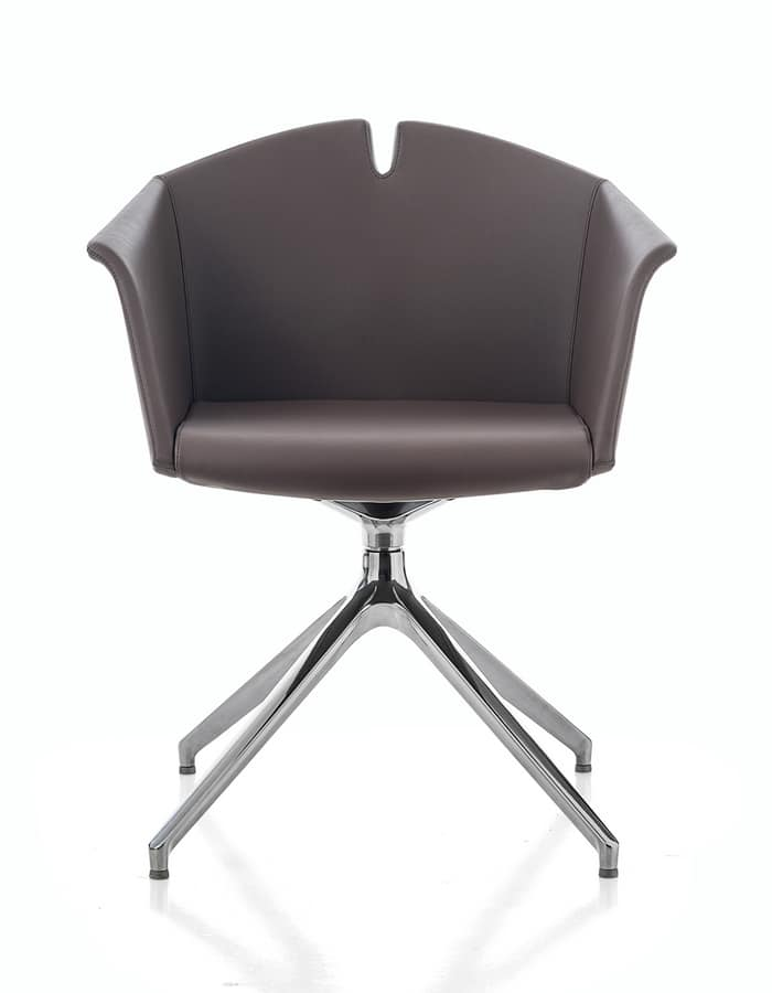 Kuad, Armchair with trestle base, even with castors