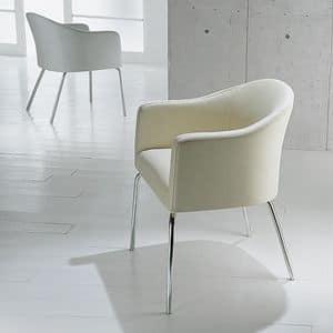 Luna, Tub chair with padded polyurethane armrests