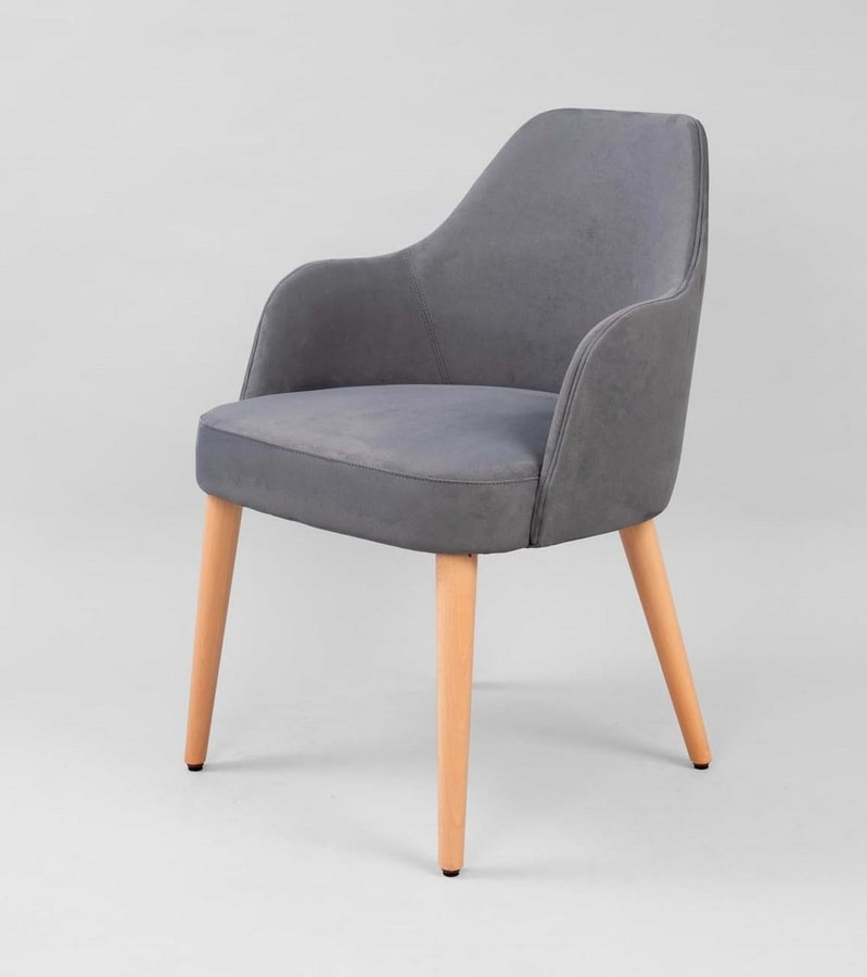 M31, Padded armchair with wooden legs