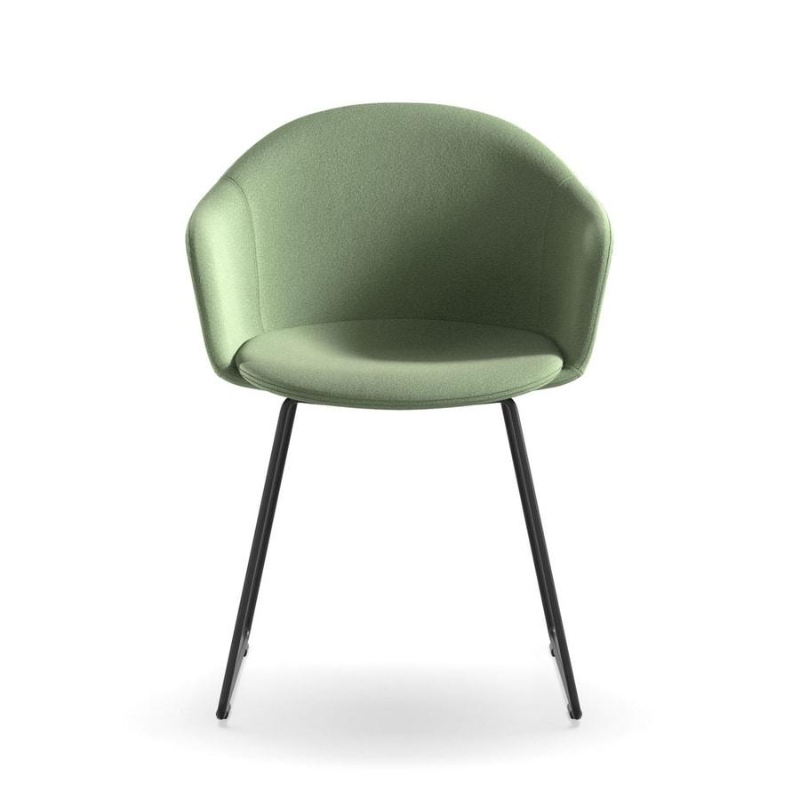 Máni Armshell fabric SL, Sled base armchair, padded