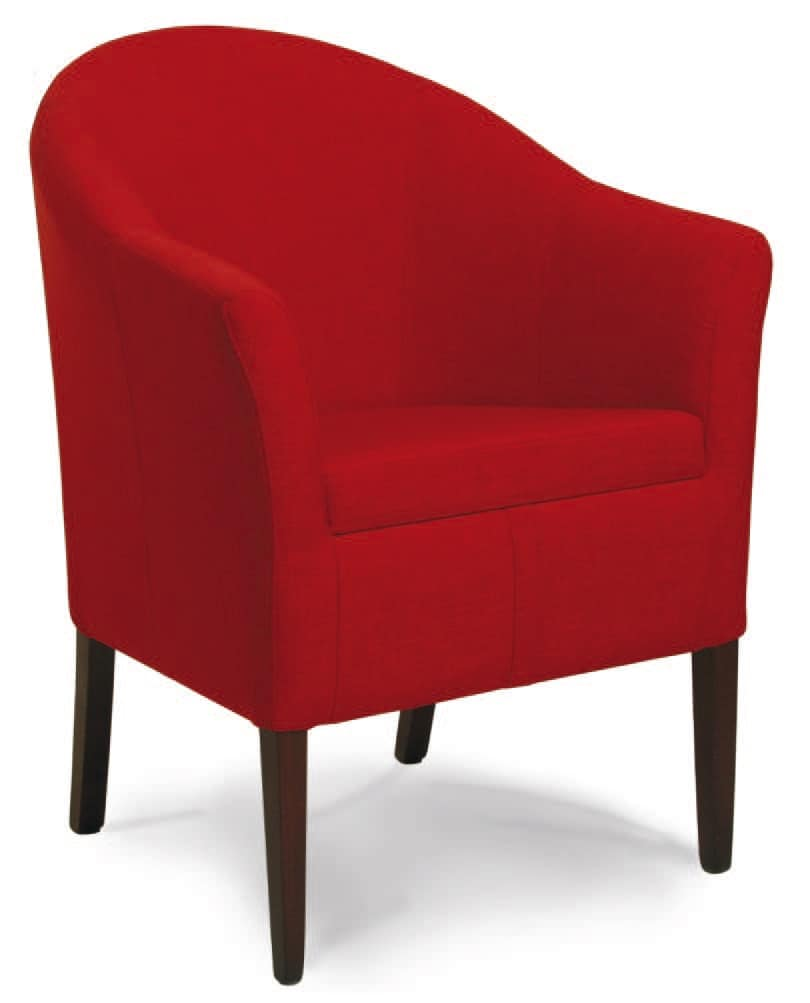 Minorca, Padded tub chair, in wood, for living room