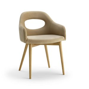 Mirò P, Modern armchair with wooden legs