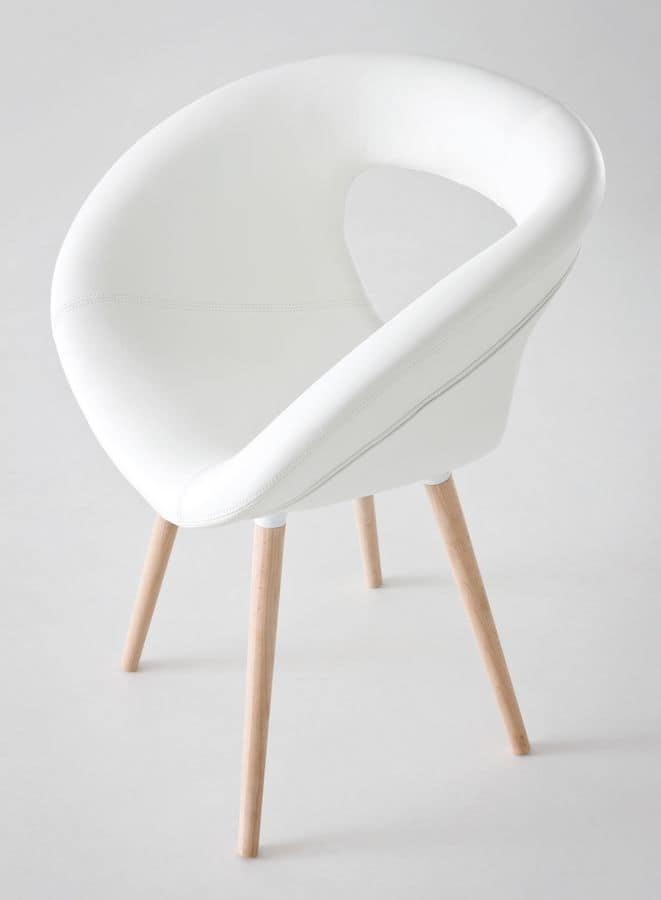 Moema 75 BL, Upholstered armchair with 4 beech wood legs