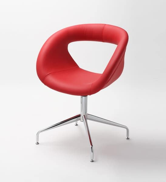 Moema leather 75 L, Armchair with metal base, leather covered shell