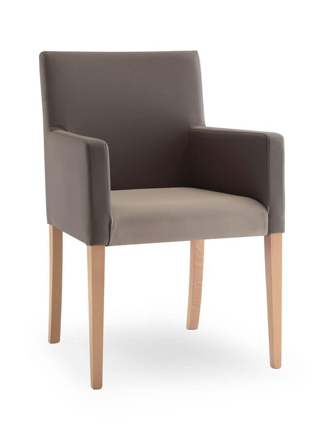 Natalia, Armchair in solid wood, for modern office