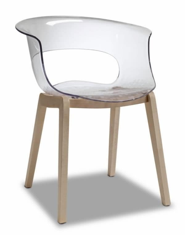 Natural Miss, Modern armchair with polycarbonate seat, transparent or full colour