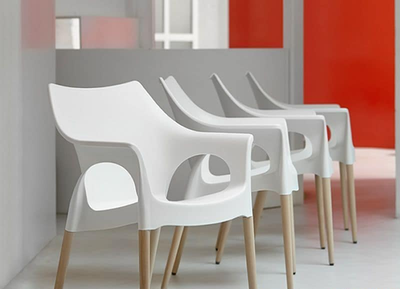 Natural Ola, Armchair in wood and technopolymer, stackable