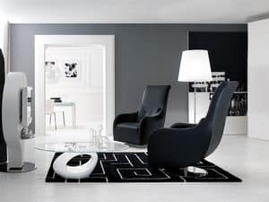 NOLITA, Padded armchair with modern lines, swivel, for reading room