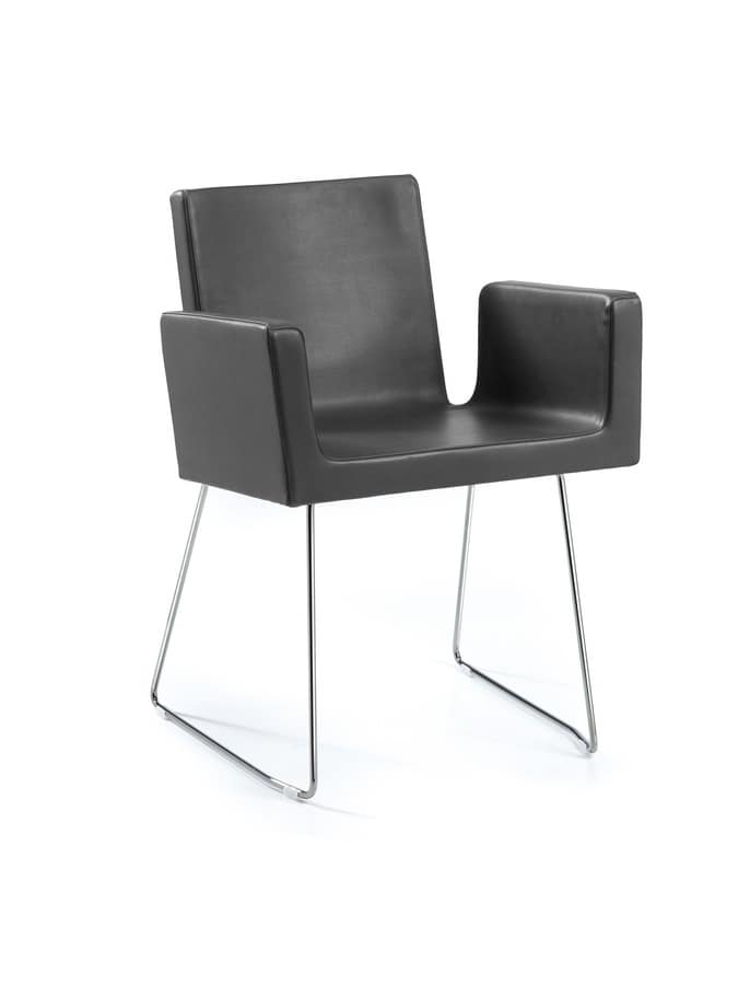 Ormelle, Modern armchair with sled base with rod