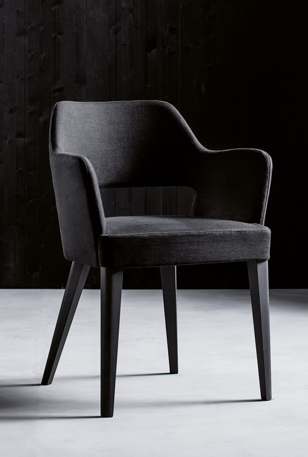PARIGI P, Armchair with armrests and upholstered seat