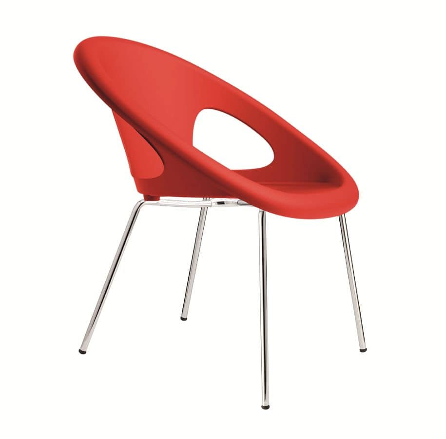 PL 2682.INT, Stackable metal and plastic chair suited for bars