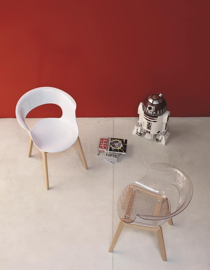 PL 2800, Polycarbonate armchair, with perforated back