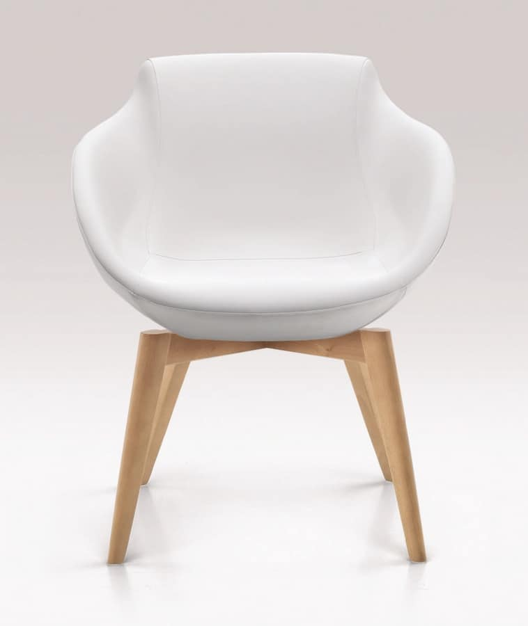 PL 5005, Chair with wooden legs, upholstered with polyurethane