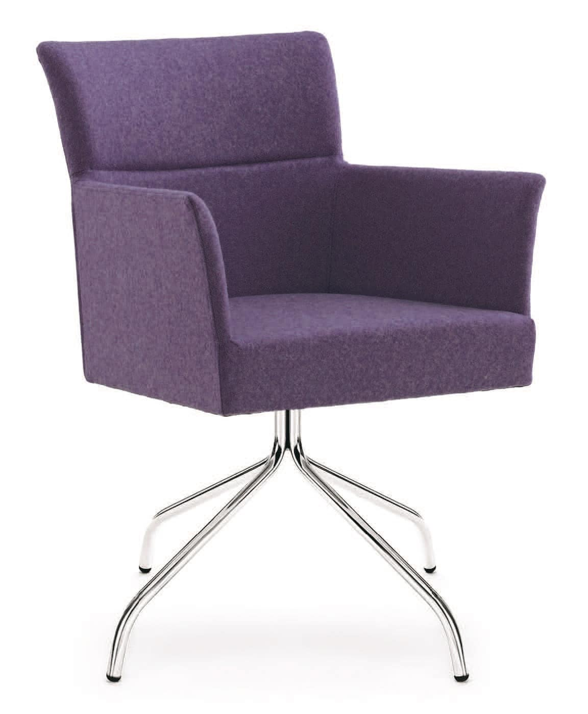 PL 5007, Armchair with chromed steel base, in various colors