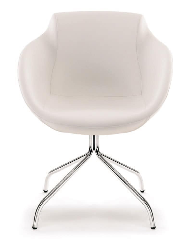 PL 5008, Upholstered armchair in steel, for waiting rooms