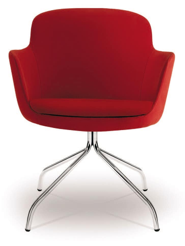 PL 5009, Armchair with polished chrome steel base, for offices
