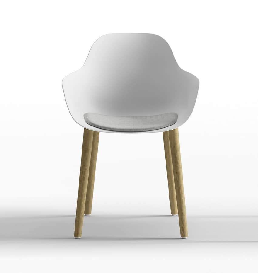 Pola Round P_4W, Polypropylene design chair with wooden legs