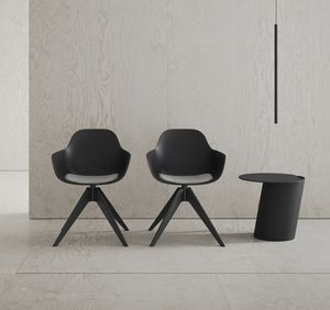 Pola Round P_WP/SU, Polypropylene small armchair with padded cushion