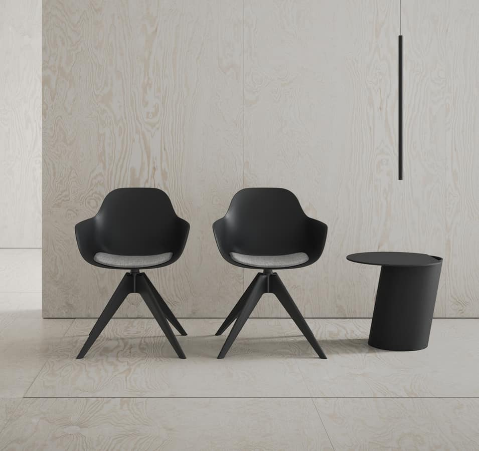 Pola Round P_WP/SU, Polypropylene small armchair with padded cushion