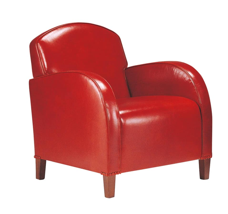 Richard, Armchair with red leather upholstery