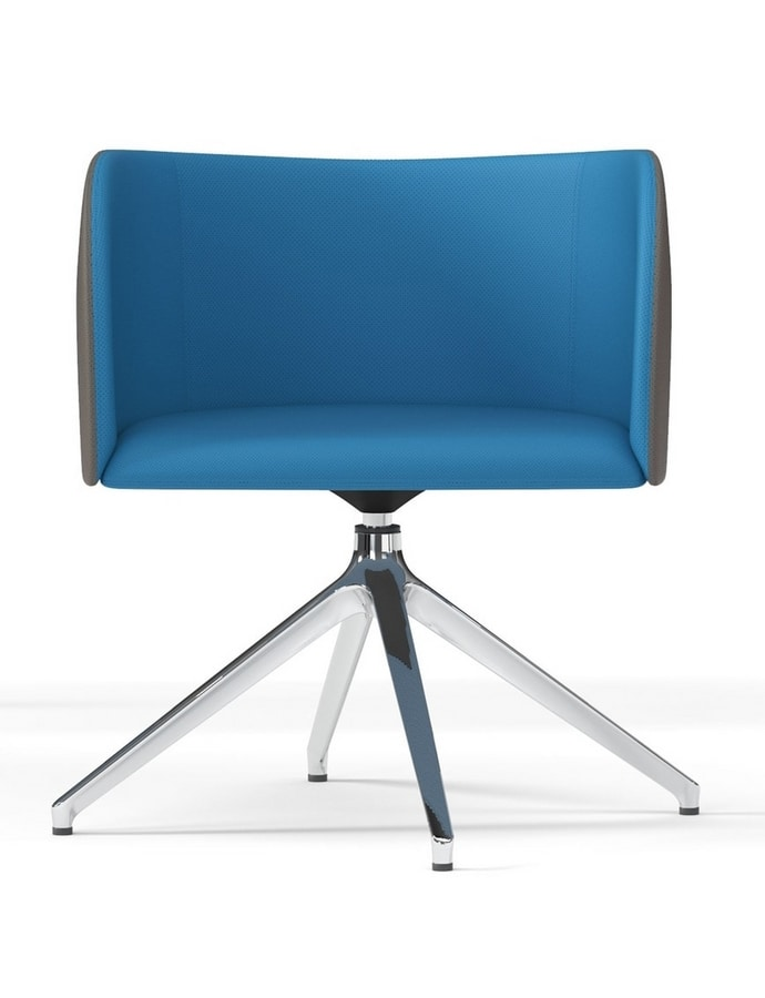 ROUND, Swivel armchair with pyramidal base