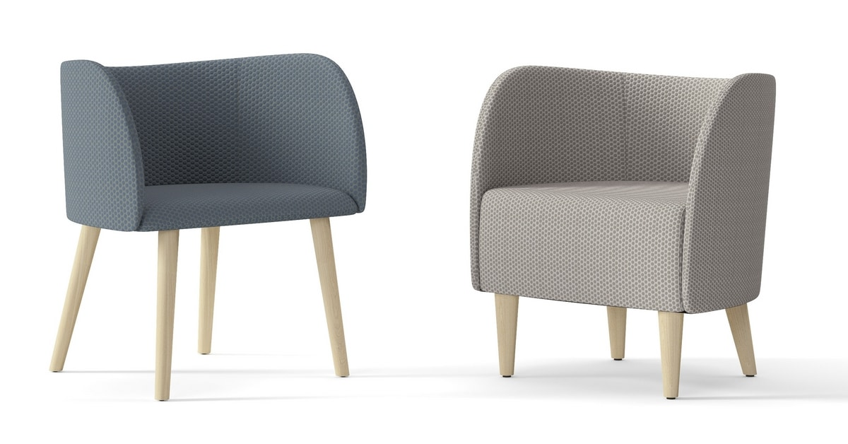ROUND, Armchair with wooden legs