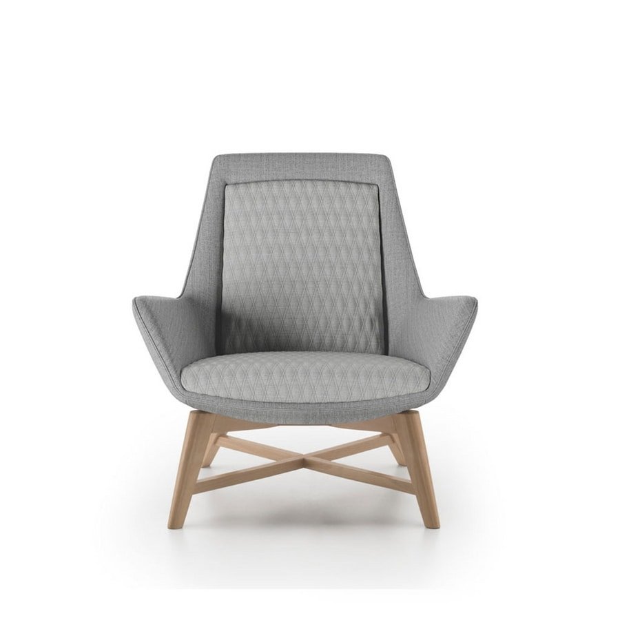 Roxy armchair, Armchair with wooden base