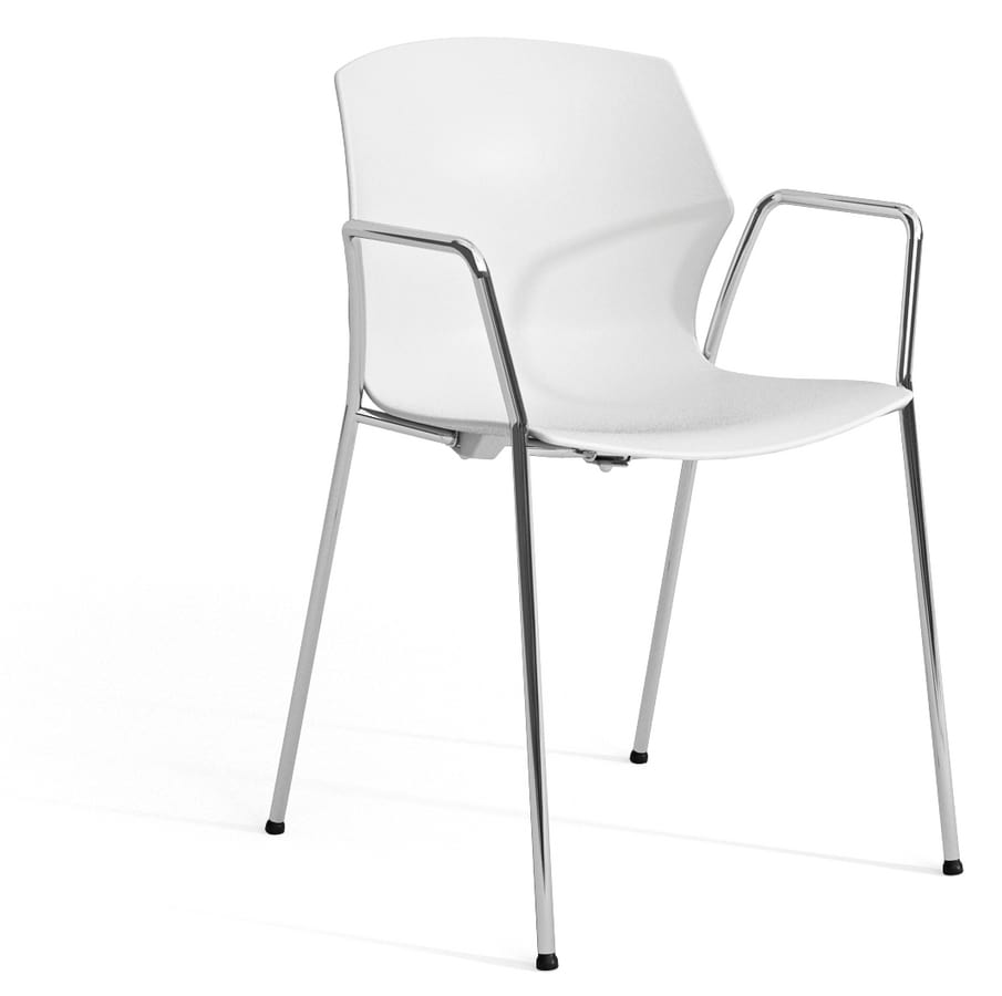 SALLY P, Armchair with plastic shell and chromed armrests