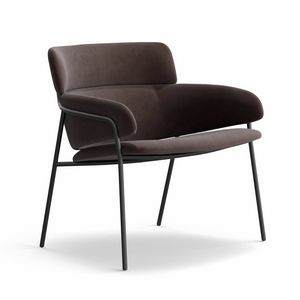 Strike LO, Soft lounge chair, in tubular steel, for home