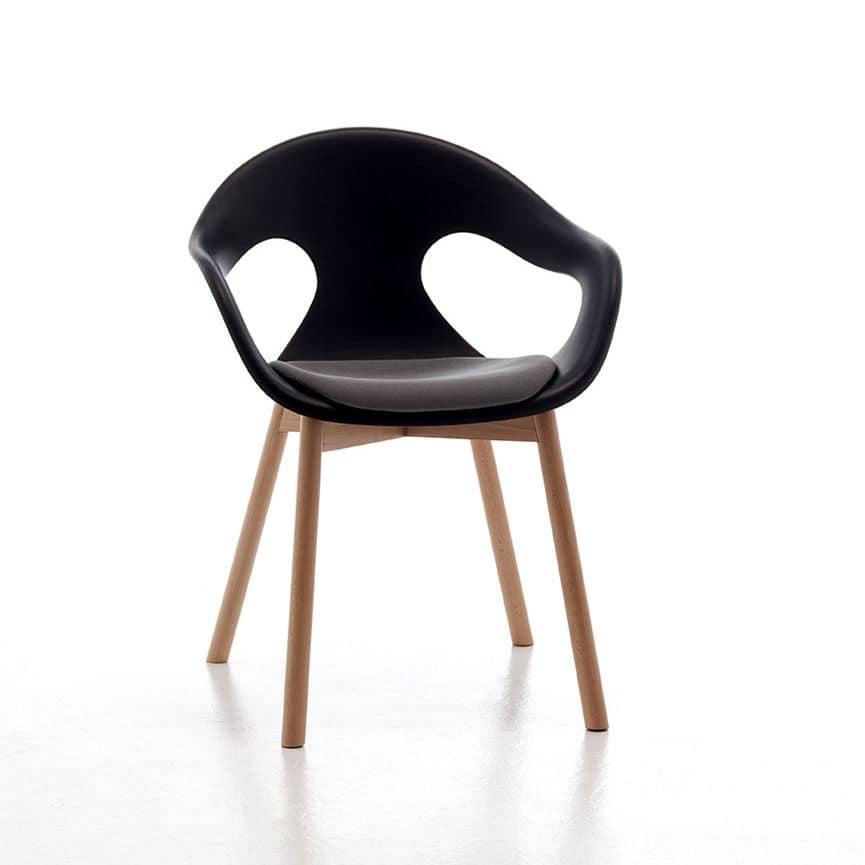 Sunny 4LW, Armchair with wooden legs, polypropylene shell