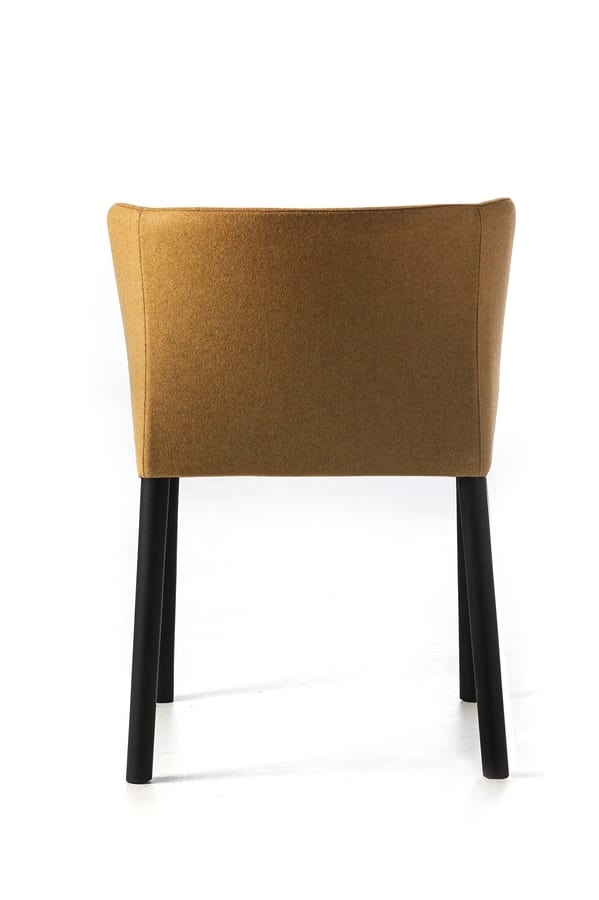 Virginia 4WL, Padded small armchair with wooden legs